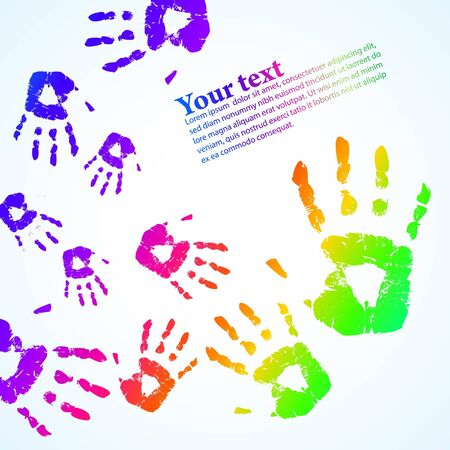 the hand print abstract color background  photo