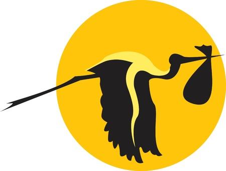 cigue�a: la cig�e�a de vuelo con un paquete Foto de archivo