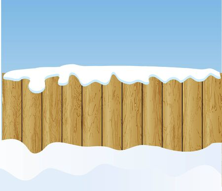 the vector winter background with wooden fence photo