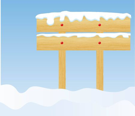 the vector winter background with wooden billboard photo