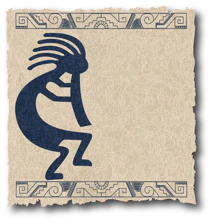 excavation: the vector mayan and inca tribal on old paper
