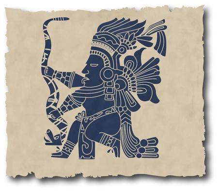 superstitious: il vettore di Maya e inca tribale sulla vecchia carta
