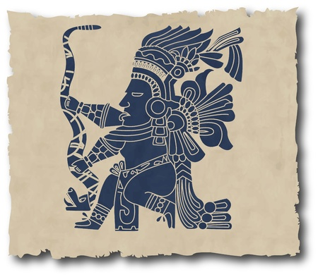 archeology: the vector mayan and inca tribal on old paper