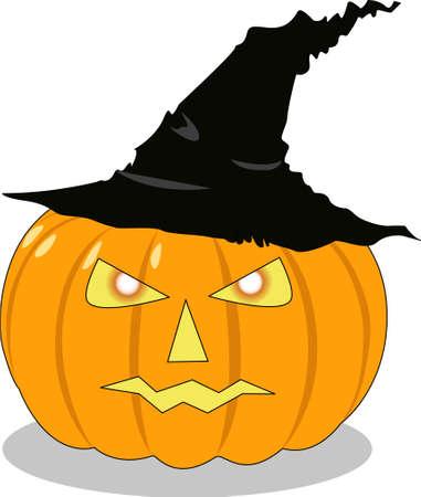helloween: the vector helloween orange pumpkin in hat