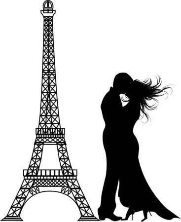 romanticismo: il vettore romance Silhouette di Parigi