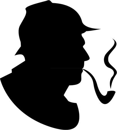 흡연자: 벡터 실루엣 파이프 흡연