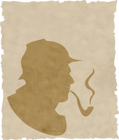 cigar smoke: the vector silhouette pipe smoker Illustration