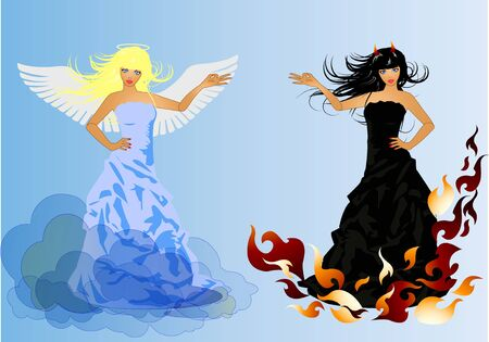 Angel and Devil retro woman Stock Vector - 8811381