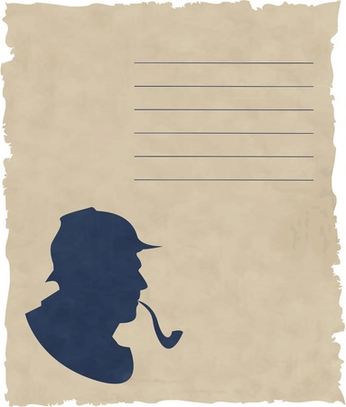 sherlock: the vector silhouette pipe smoker Illustration