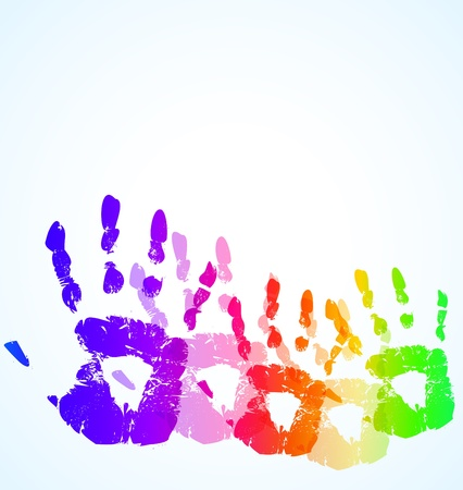the vector hand print abstract color background Vector
