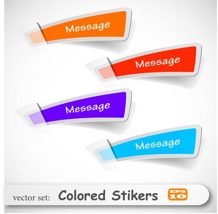web side: el conjunto abstracto adhesivo color Vectores