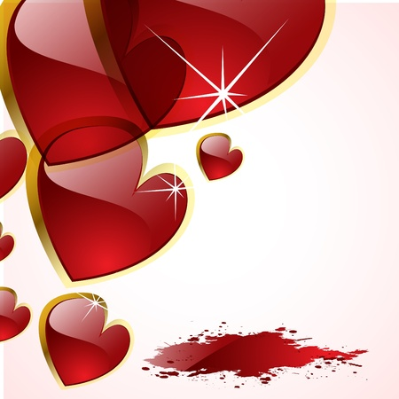 romance: the vector abstract hearts background Illustration