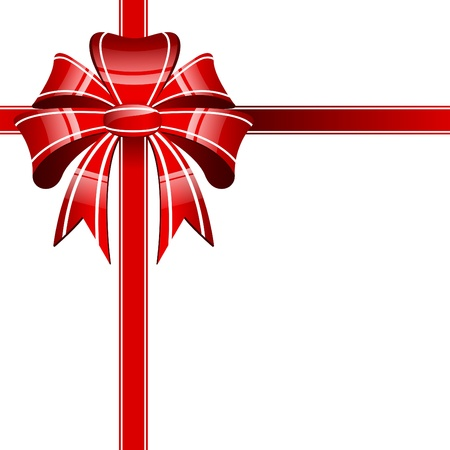 Red bow on a white background Vector