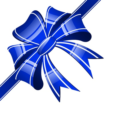 blue bow on a white background Vector