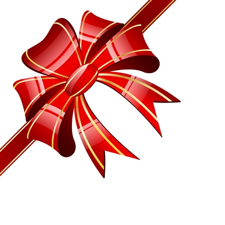 gift wrap: Red bow on a white background