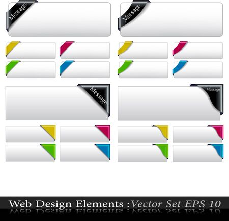 The Vector Colored  Corner Ribbon Set Vector