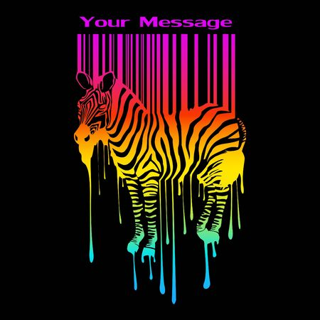 the abstract zebra silhouette with barcode Vector