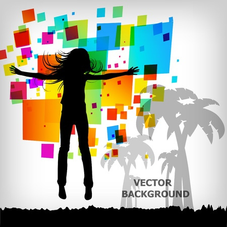 futuristic girl: the abstract square colorful background Illustration