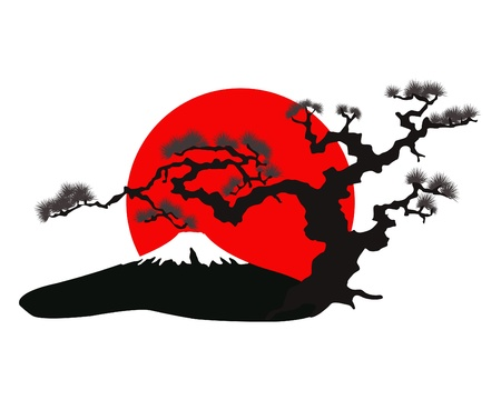 the Japanese landscape silhouette