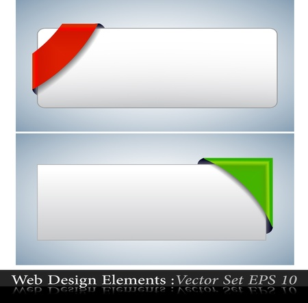 The Colored  Corner Ribbon Set Vector