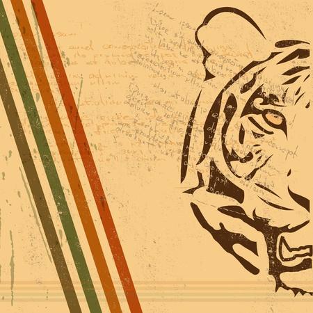 burnt paper: vintage paper background with tiger burnt paper Illustration