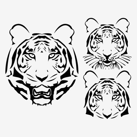 oriental white cat: abstract tiger head set