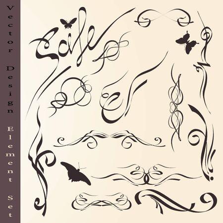 swash: calligraphic design elements set