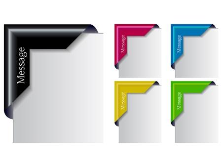 nastro angolo: Il colorato angolo Set Ribbon Vettoriali