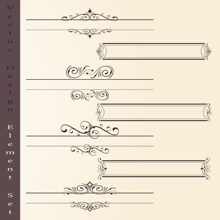 old book cover: the vector set of design elements