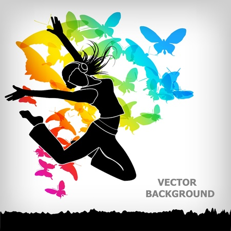 chicas bailando: el fondo colorido abstracto mariposa Vectores