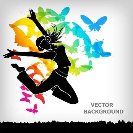 danza moderna: el fondo colorido abstracto mariposa Vectores