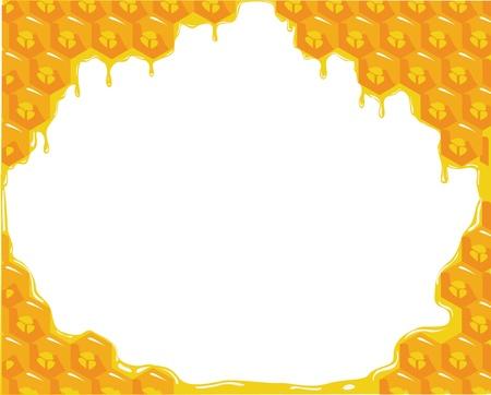 abejas panal: Fondo naranja sobre panales