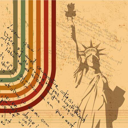 the retro Statue of Liberty background Vector