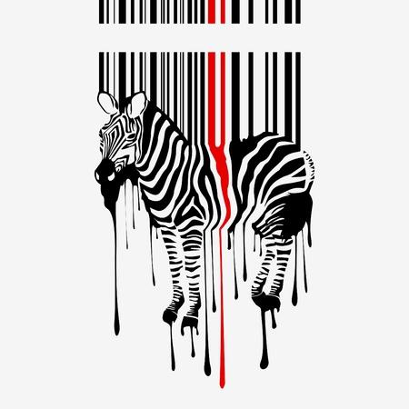 barcode scan: la silueta de cebra abstracto con c�digo de barras Vectores