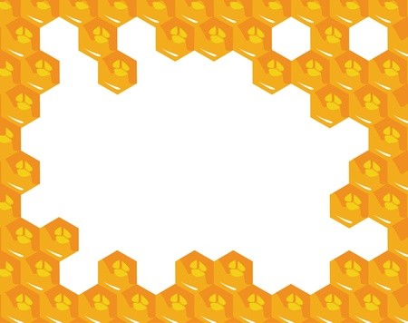 Orange background about honeycombs. Vector Vector
