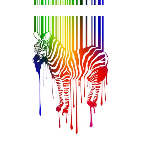 barcode scanning: vector zebra silhouette Illustration