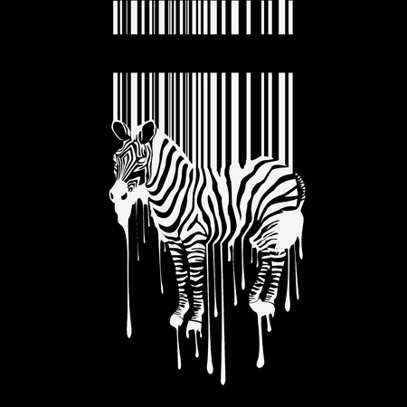 Zebra silhouette with smudges barcode Vector