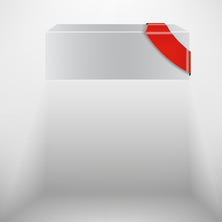 The abstract white box with red ribbon Vector
