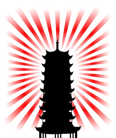 silhouette of a japanese religious goal  Vector