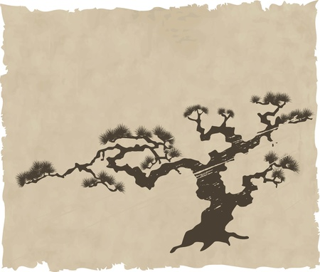 japanese style: The Japanese landscape silhouette. Illustration