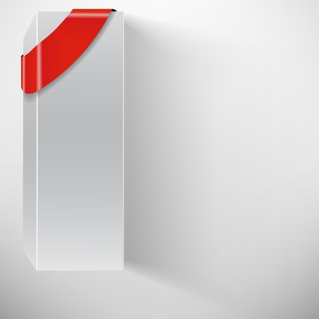 the abstract vector white box with red ribbon Vector