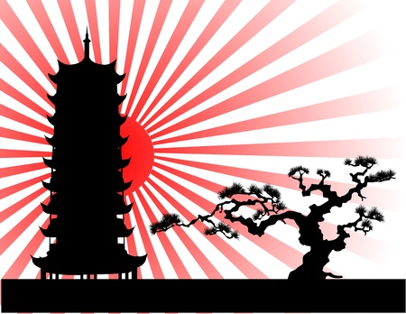 summer in japan: the Japanese landscape silhouette vector