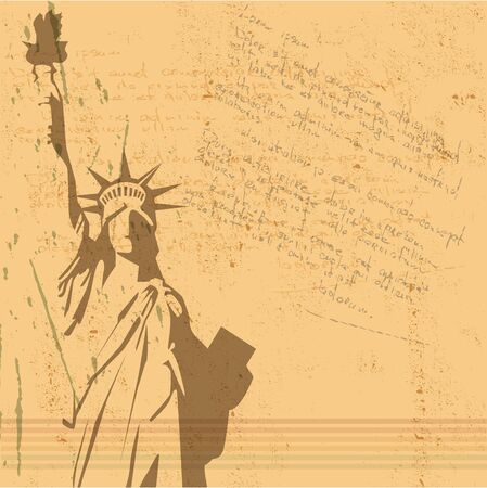 statue of liberty: the vector retro Statue of Liberty background Illustration