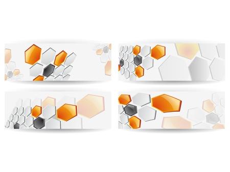 Abstract Honeycomb Horizontal Banner Vector