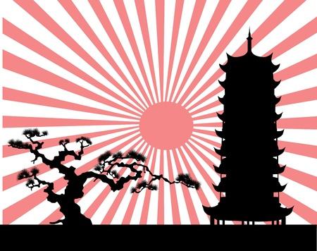 sol naciente: el paisaje japonés vector silueta