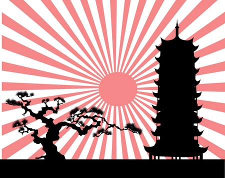 sun rising: the Japanese landscape silhouette vector