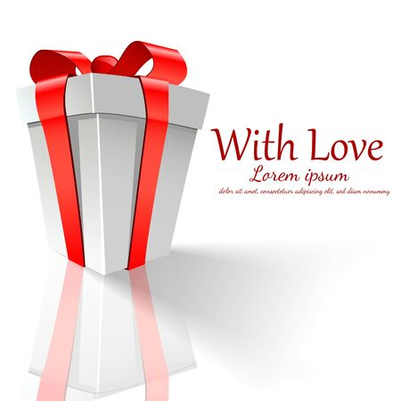 gift packaging: background Day Valentine on Red Illustration