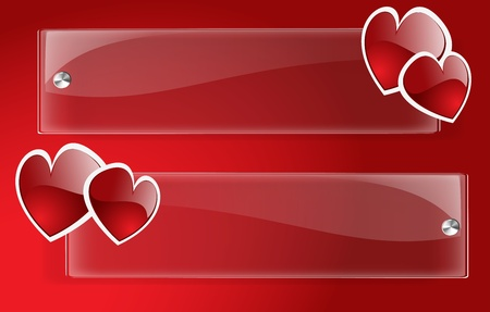 Banner Day Valentine on Red Vector
