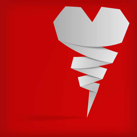 the abstract white origami banner on red background Vector