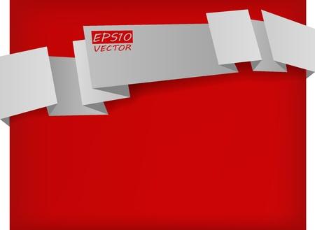 il vettore astratto banner origami bianco su sfondo rosso
